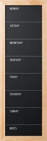 Kriedová tabuľa, tyždenná, čierny povrch, 60x40 cm,  drevený rám, ViCTORIA