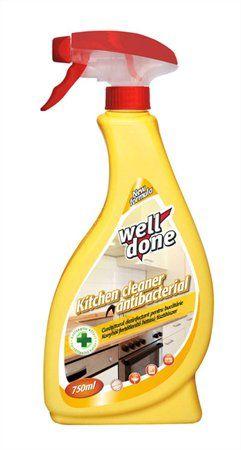 Kuchynský dezinfekčný čistiaci prostriedok, s rozprašovačom, 750 ml, WELL DONE