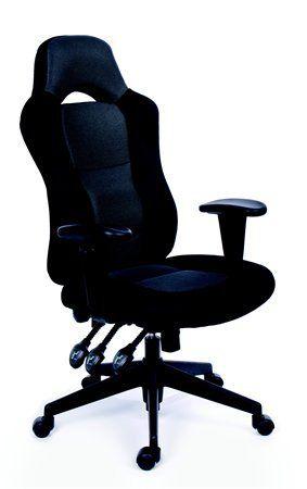 """Manažérska stolička, čierné/sivé čalúnenie, čierny podstavec, MaYAH """"Racer"""""""