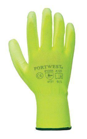 Montážne rukavice, na dlani namočené do polyuretánu, veľkosť: 10, neónovo zelené