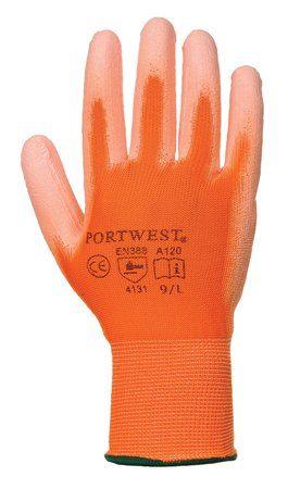 Montážne rukavice, na dlani namočené do polyuretánu, veľkosť: 7, oranžové