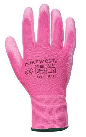 Montážne rukavice, na dlani namočené do polyuretánu, veľkosť: 7, ružové