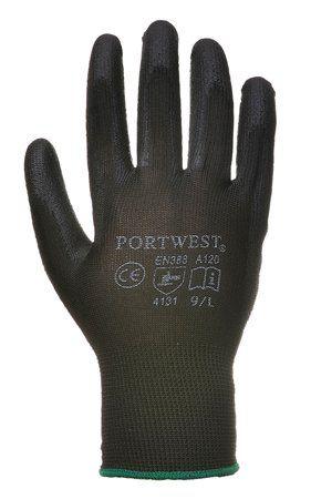 Montážne rukavice, na dlani namočené do polyuretánu, veľkosť: 8, čierne