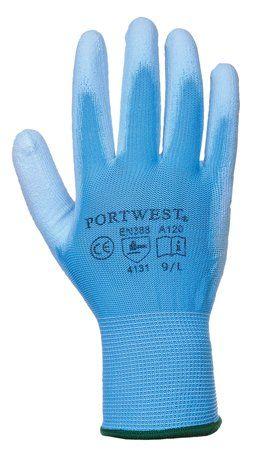 Montážne rukavice, na dlani namočené do polyuretánu, veľkosť: 8, modré