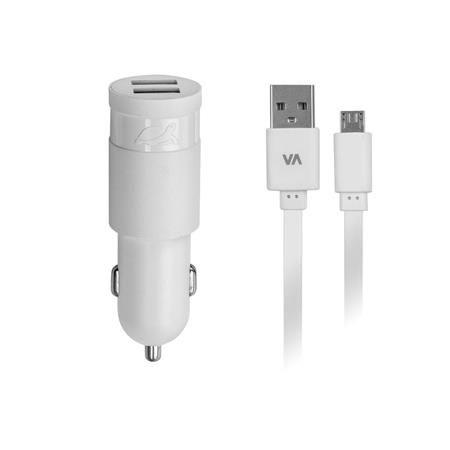"Nabíjačka do auta, 2 x USB, 2,4A, s micro USB káblom, RIVACASE ""VA 4211 WD1"", biela"
