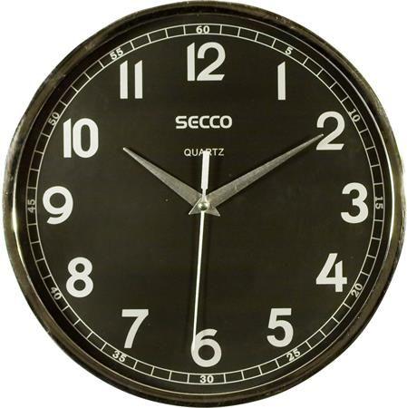 Nástenné hodiny, 24 cm, čierny číselník, SECCO, rám chrómovej farby