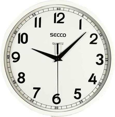 Nástenné hodiny, 24 cm, SECCO, lesklý biely rám