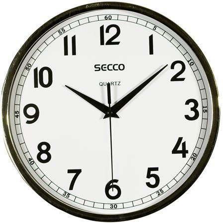 Nástenné hodiny, 24 cm,  SECCO, rám chrómovej farby