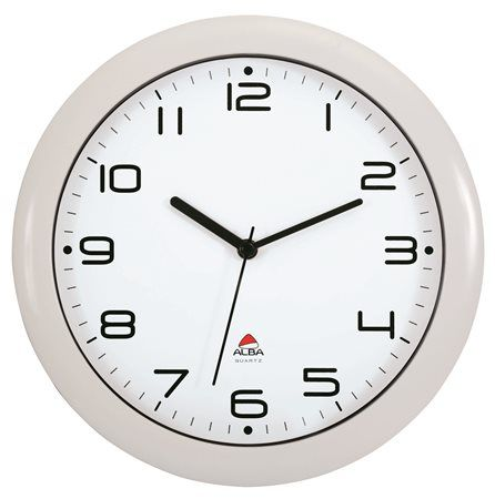 """Nástenné hodiny, 30 cm, ALBA """"Hornew"""", biele"""