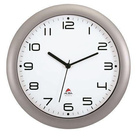 """Nástenné hodiny, 30 cm, ALBA """"Hornew"""", strieborné"""