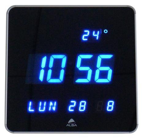 "Nástenné hodiny s LED displejem, 28 cm, ALBA  ""Horledsq"", čierne"