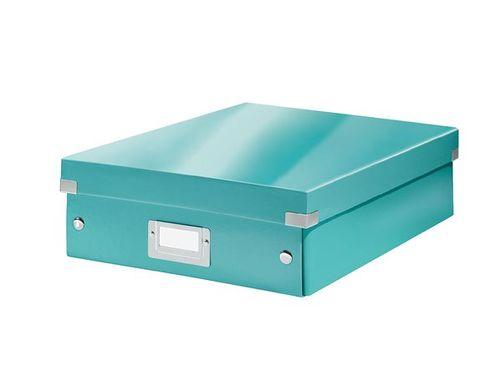 """Odkladací box, organizačný, laminovaný kartón, veľkosť M, LEITZ """"Click&Store"""", ľadovo modr"""