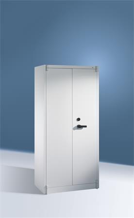 Ohňovzdorná kovová skriňa, 4 police, 2-dverová, sivá