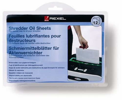 Olejový papier, pre údržbu skartovacích strojov, A5, 12 ks, REXEL