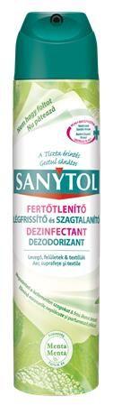 Osviežovač vzduchu, dezinfekčný, 300 ml, SANYTOL, mäta