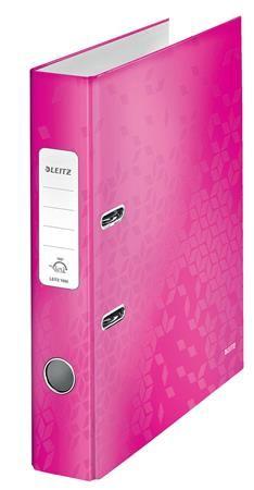 """Pákový šanón, 52 mm, A4, PP/kartón, polakovaný, LEITZ """"180 Wow"""", ružový"""