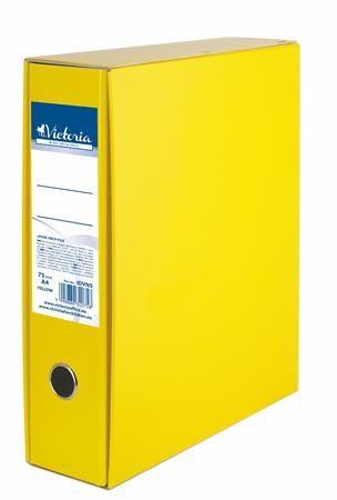 Pákový šanón s obalom, 75 mm, A4,  kartón, VICTORIA, žltý