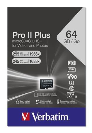 "Pamäťová karta, microSDXC, 64GB, C10/UHS-II/U3/V90, 285/245 MB/s, adapter, VERBATIM ""PRO I"