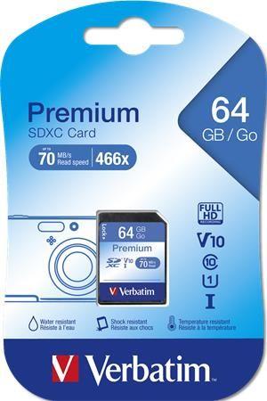 "Pamäťová karta ""SecureDigital"", 64 GB, C10/U1, 45/10 MB/s, VERBATIM, ""Premium"""