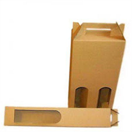 Papierová škatuľa na víno s hladkým uchom, 2 priehradka, prírodná