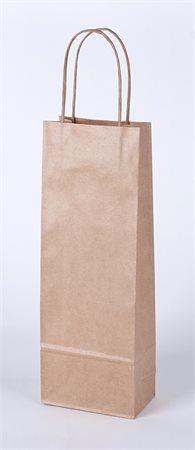 Papierová taška na víno s točeným uchom, 1 priehradka, prírodná