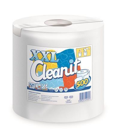 "Papierové utierky, kotúčové, univerzálne, 2 vrstvové, LUCART ""CLEANIT XXL 500"", biele"