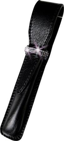 Puzdro na pero, čierne, kožené, SWAROVSKI® kryštály v 3 radoch, 16 cm, ART CRYSTELLA®