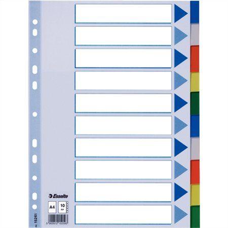Register, plastový, A4, 10 dielny, ESSELTE
