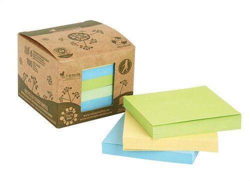 Samolepiace bločky, 75x75 mm, 6x100 listov, z recyklovaného papiera, VICTORIA, mix