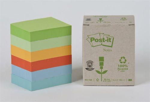 Samolepiaci bloček, 38x51 mm, 100 listov, ekologický, 3M POSTIT, pastelové farby