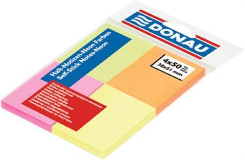 Samolepiaci bloček, 38x51 mm, 4x50 listov, DONAU, mix farieb