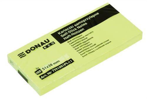 "Samolepiaci bloček, 38x51mm, 3x100 listov, DONAU ""ECO"", žltý"