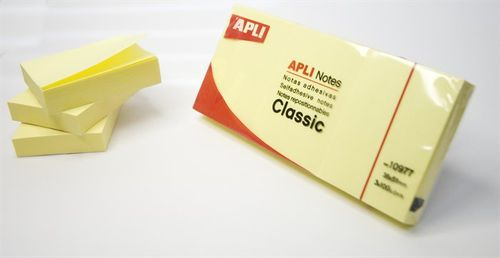 Samolepiaci bloček, 40x50 mm, 100 listov, APLI, žltý