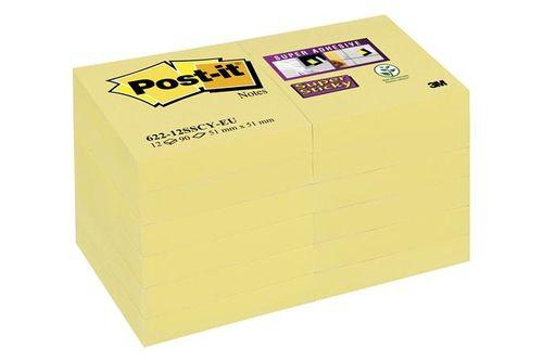 "Samolepiaci bloček, 48x48 mm, 12x90 listov, 3M POSTIT ""Super Sticky"", žltý"