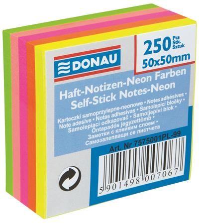 Samolepiaci bloček, 50x50 mm, 5x50 listov, DONAU, neónové farby