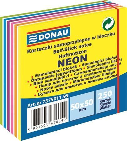 Samolepiaci bloček, 50x50mm,250 listov, DONAU, neónové a pastelové farby