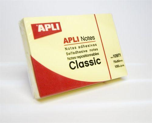 Samolepiaci bloček, 50x75 mm, 100 listov, APLI, žltý