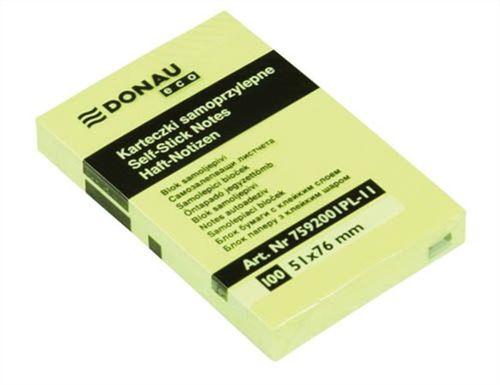 """Samolepiaci bloček, 51x76mm, 100 listov, DONAU """"ECO"""", žltý"""