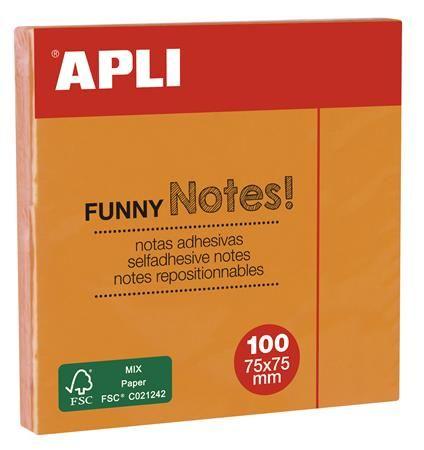Samolepiaci bloček, 75x75 mm, 100 listov, APLI, neónový oranžový