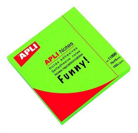 Samolepiaci bloček, 75x75 mm, 100 listov, APLI, neónový zelený