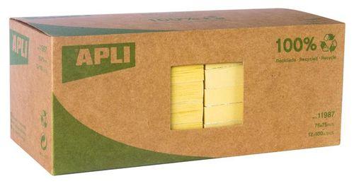Samolepiaci bloček, 75x75 mm, 100 listov, z recyklovaného papiera, APLI, žltý