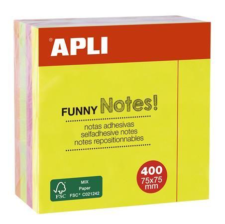 Samolepiaci bloček, 75x75 mm, 400 listov, APLI, neónový