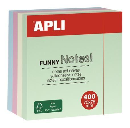 Samolepiaci bloček, 75x75 mm, 400 listov, APLI, pastelový