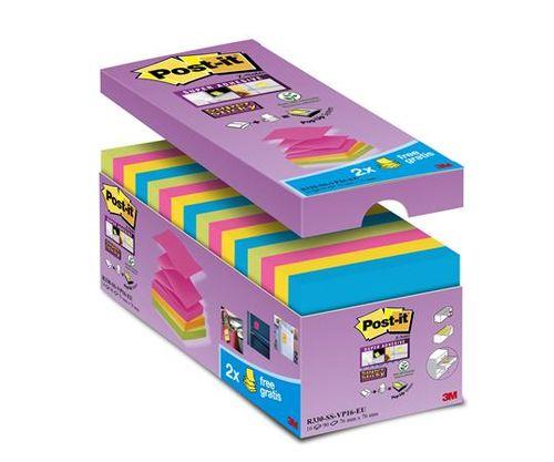 """Samolepiaci bloček, """"Z"""", 76x76 mm, 16x90 listov, 3M POSTIT, """"Super Sticky"""", mix farieb"""