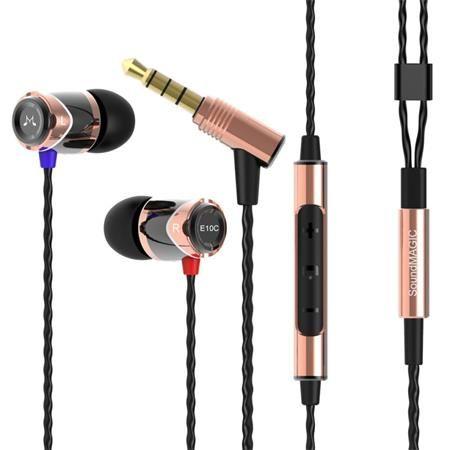 """Slúchadlá, s mikrofónom, ovládanie hlasitosti, kovové, SOUNDMAGIC """"E10C"""", čierne-zlaté"""