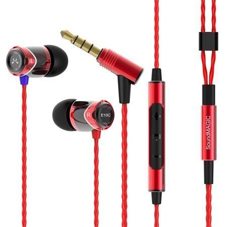"""Slúchadlá, s mikrofónom, ovládanie hlasitosti, kovové, SOUNDMAGIC """"E10C"""", čierne-červené"""