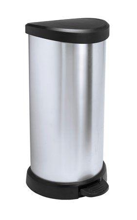 Smetný kôš, s pedálom, kovový efekt, 40 l, CURVER