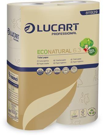 """Toaletný papier, 3 vrstvový, malý kotúč, 27,5 m, LUCART """"EcoNatural 6.3"""", hnedý"""