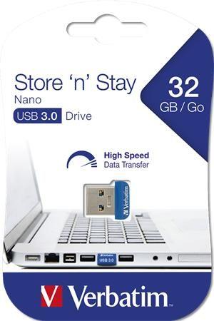 "USB, 2GB, USB 3.0, 80/25MB/sec, VERBATIM ""NANO STORE ´N´ STAY"""