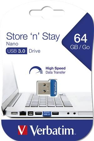 "USB, 64GB, USB 3.0, 80/25MB/sec, VERBATIM ""NANO STORE ´N´ STAY"""